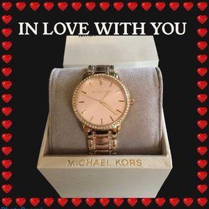 Michael Kors pavé-embellished rose gold watch NWT